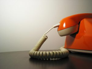 Red stationary phone